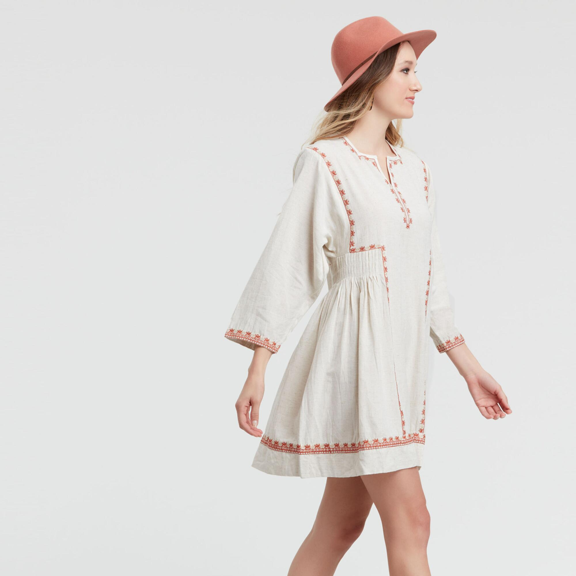 500 Vintage Style Dresses for Sale Oatmeal and Burnt Orange Embroidered Phoebe Dress White - Lgxlg by World Market Lgxlg $39.99 AT vintagedancer.com