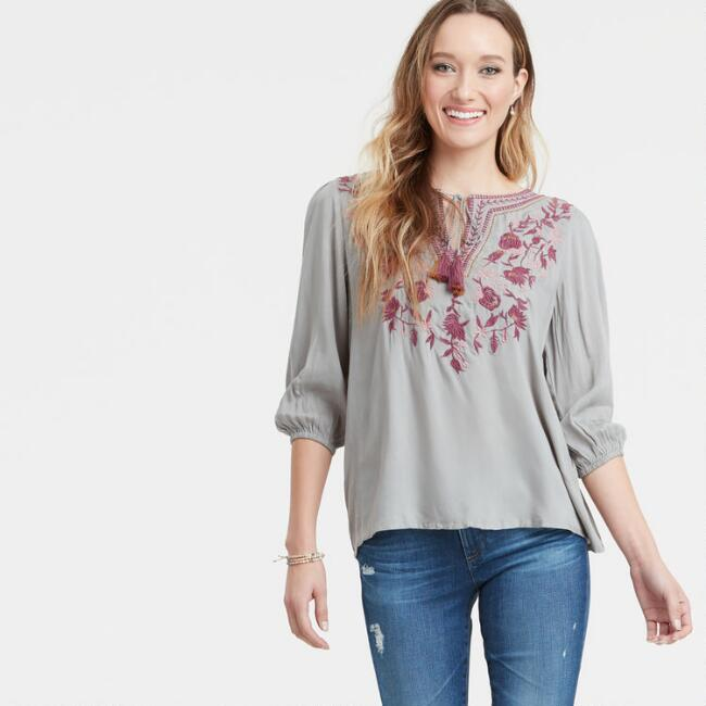 Dove Gray Embroidered Laura Top