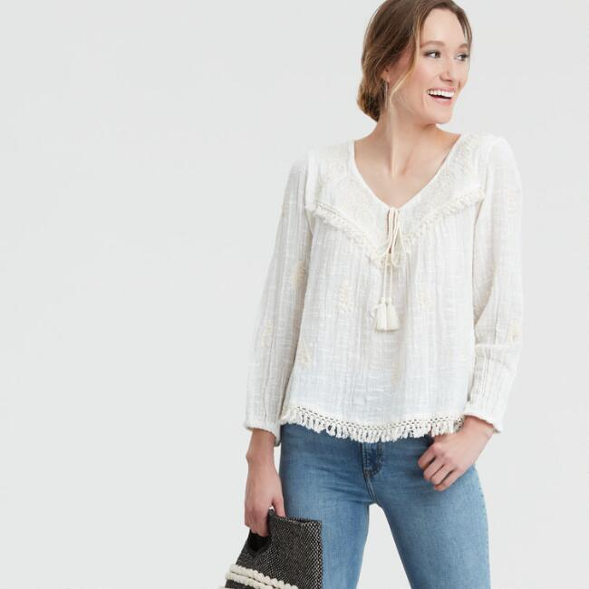 Ivory Embroidered Aura Top