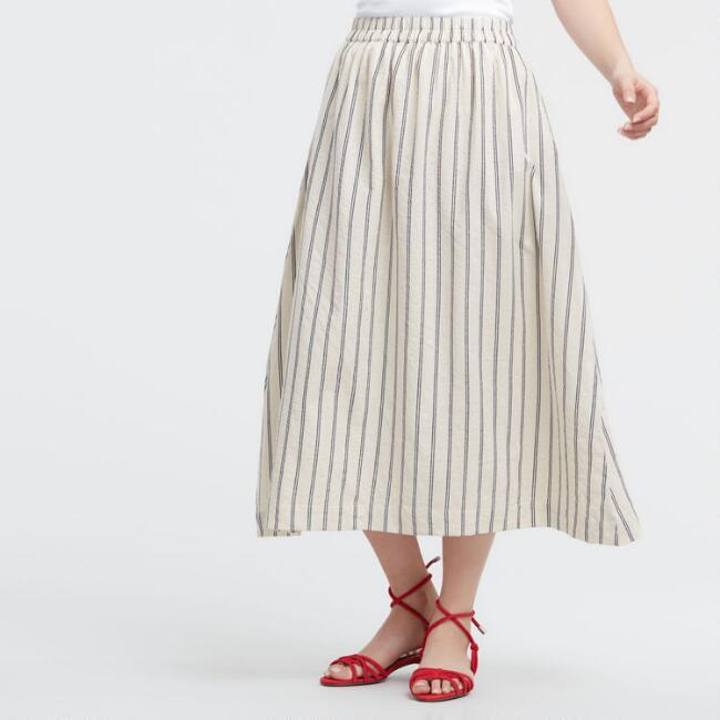 Ivory and Navy Striped Marina Skirt with Pockets
