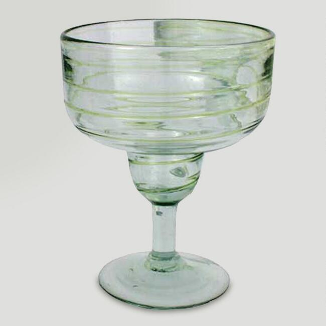 Novica Lime Spirals Margarita Glasses, Set of 4