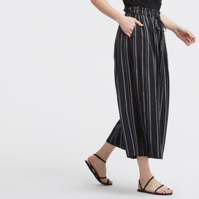 Black and White Striped June Culottes with Pockets