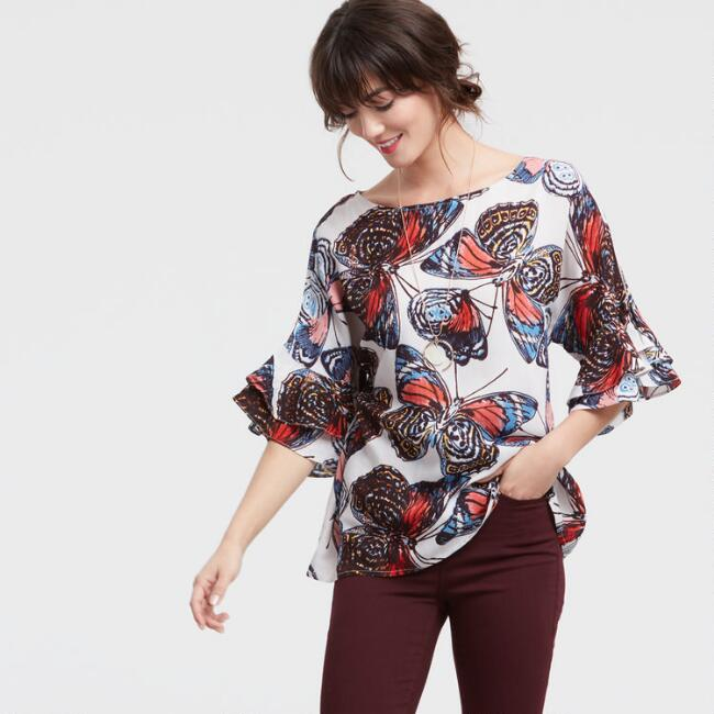 Butterfly Print Flutter Top