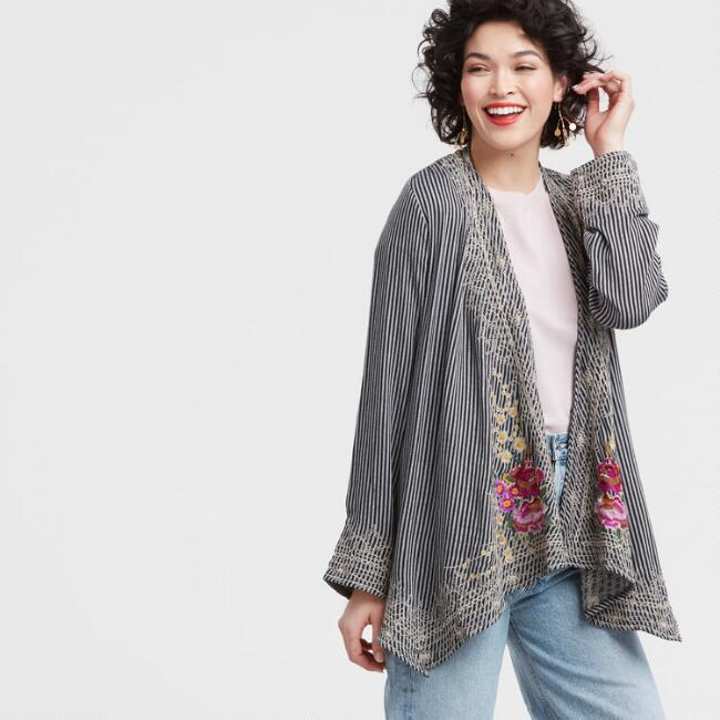 Embroidered Open Front Botanical Jacket