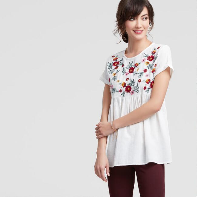 Ivory Floral Embroidered Wildflower Top