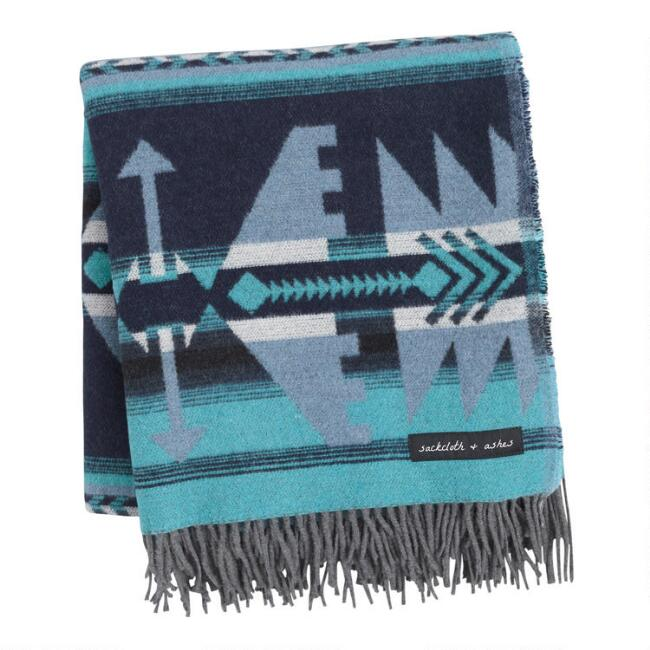 Sackcloth & Ashes Teal, Gray and Blue Arrow Throw Blanket