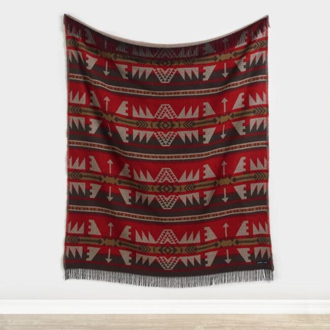 Sackcloth & Ashes Red, Black and Brown Arrow Throw Blanket
