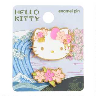 Hello Kitty Pink Flower Enamel Pins Set Of 2
