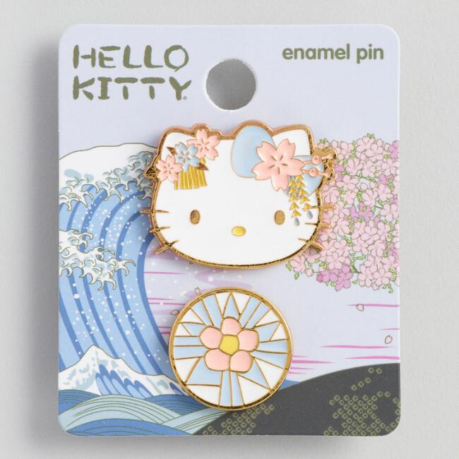 Hello Kitty Blue Flower Enamel Pins Set Of 2