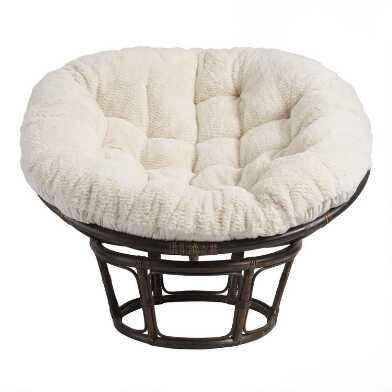 Oatmeal Faux Fur Papasan Chair Cushion