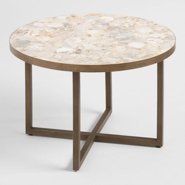 Round Marble Top Aveiro Outdoor Occasional Coffee Table by World Market