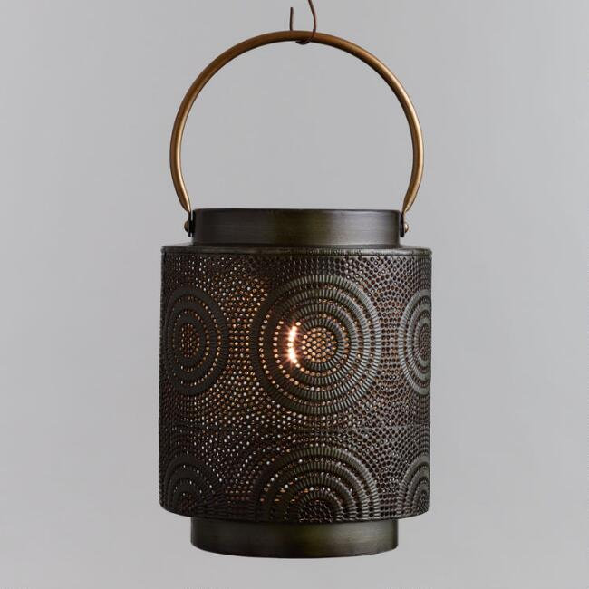 Dark Zinc Pierced Metal Cylinder Solar Led Lantern by World Market