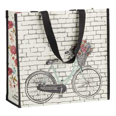 Large Bicycle Floral Tote Bag
