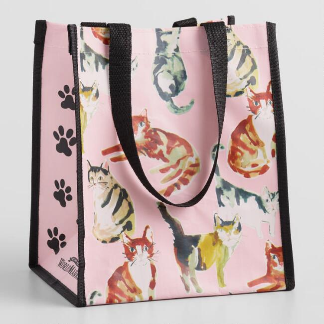 Small Pink Watercolor Kitty Tote Bags Set Of 2