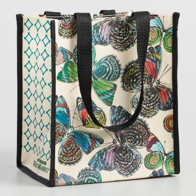 Small Multicolor Butterfly Tote Bags Set Of 2