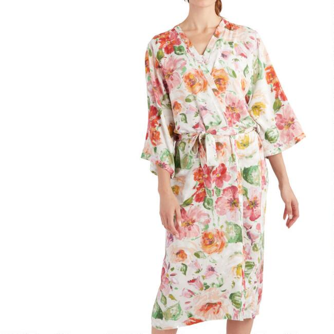 Long Ivory and Pink Floral Print Nora Robe