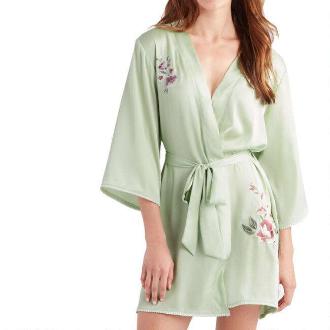 Light Green Embroidered Evelyn Robe