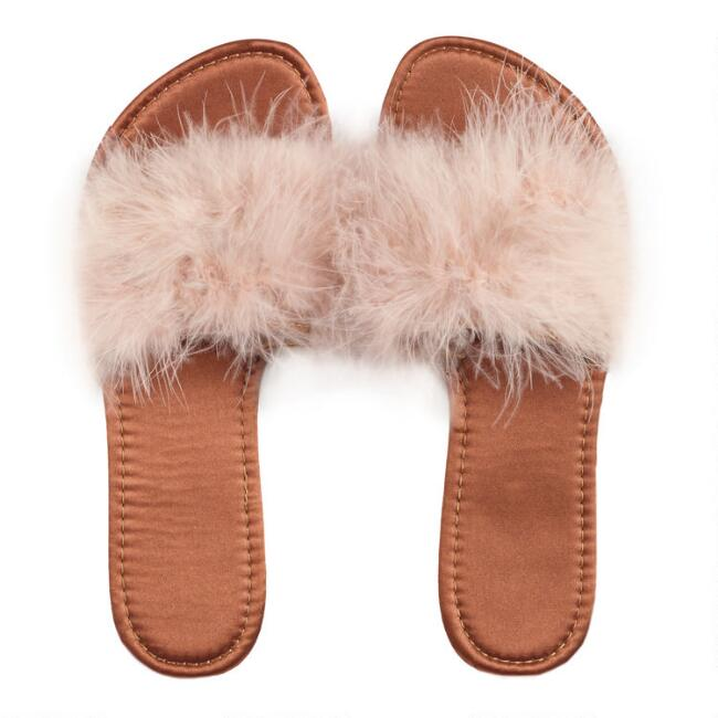 Brown Feather Slippers