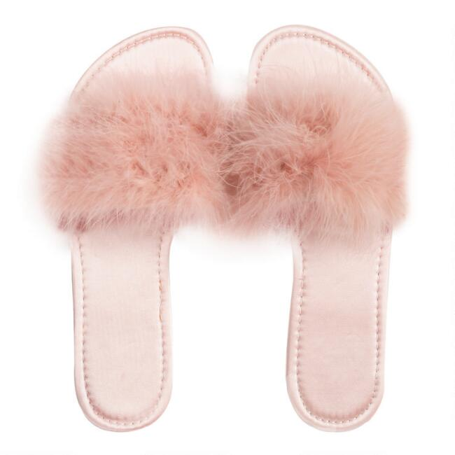 Blush Feather Slippers