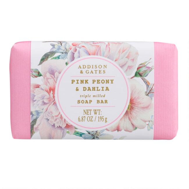 A&G Floral Wreath Pink Peony and Dahlia Bar Soap