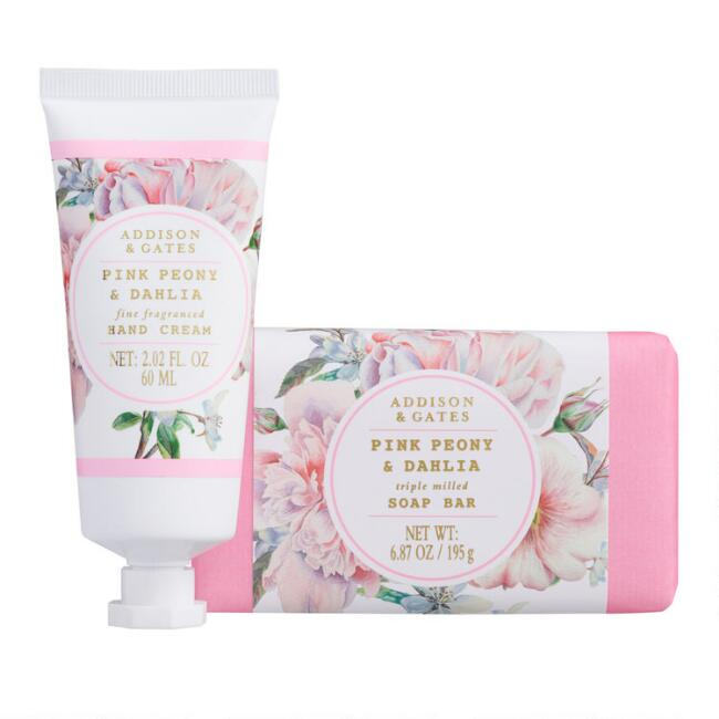 A&G Floral Wreath Pink Peony and Dahlia Hand Care Collection