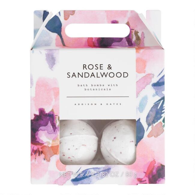 A&G Floral Rose and Sandalwood Bath Bombs 4 Count