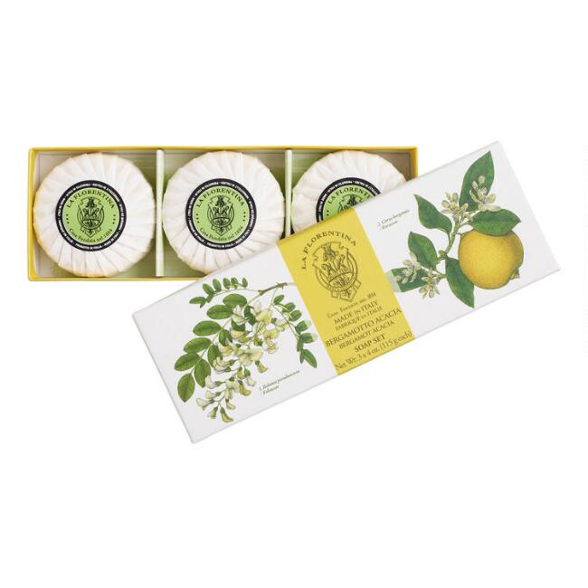 Italian La Florentina Bergamot and Acacia Bar Soap 3 Pack
