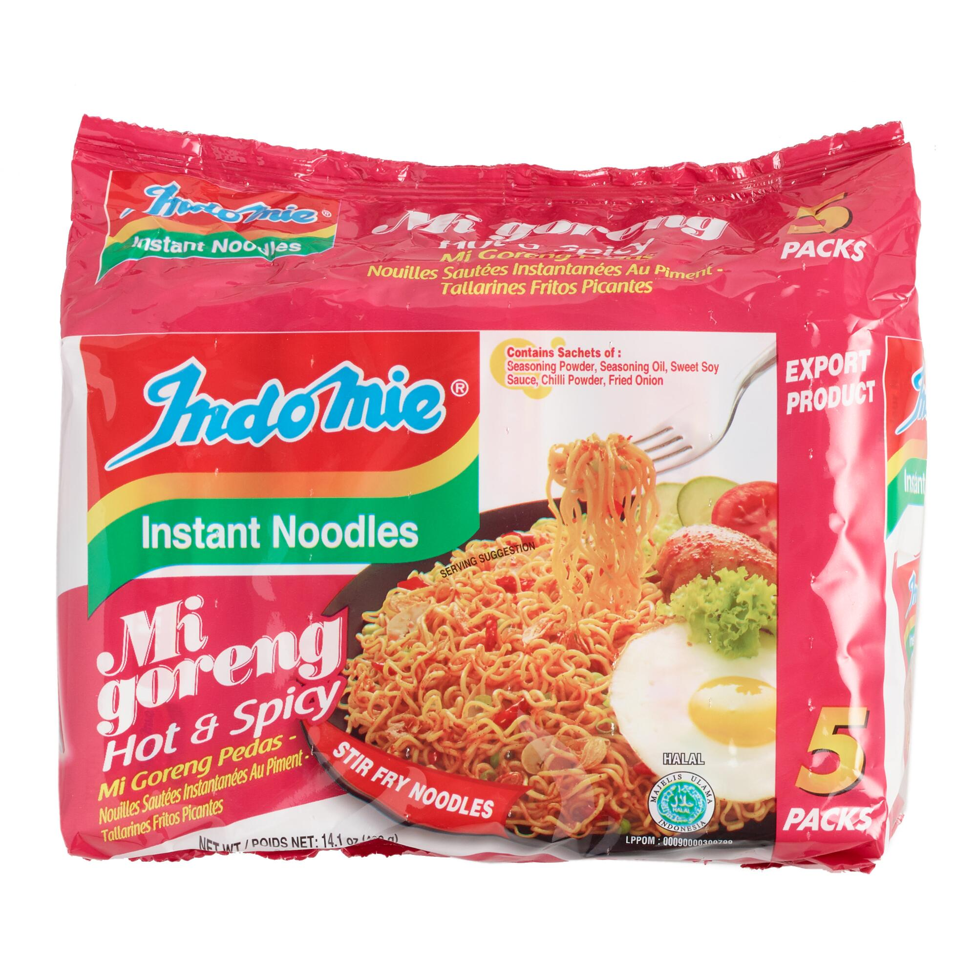 5 Pack Indomie Hot & Spicy Fried Noodles Set of 6 by World Market