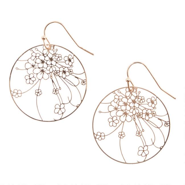 Gold Filigree Flower Drop Earrings