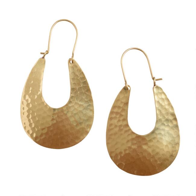 Gold Hammered Elongated Hoop Earrings