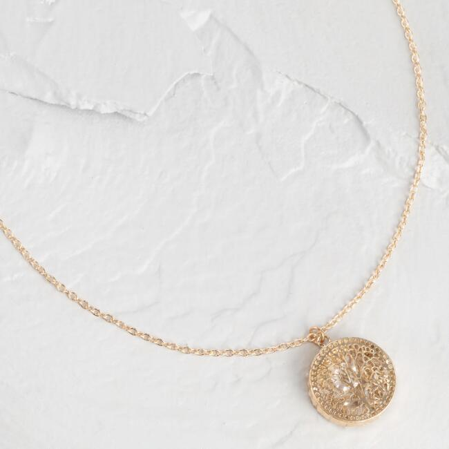 Gold Filigree And Loose Clear Stone Pendant Necklace