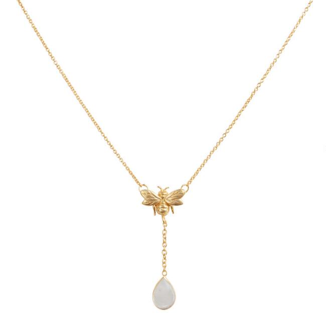 Gold Bee Moonstone Drop Pendant Necklace