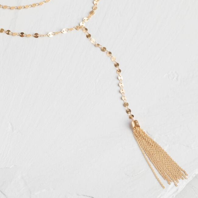 Gold Double Layer Coin Lariat Necklace