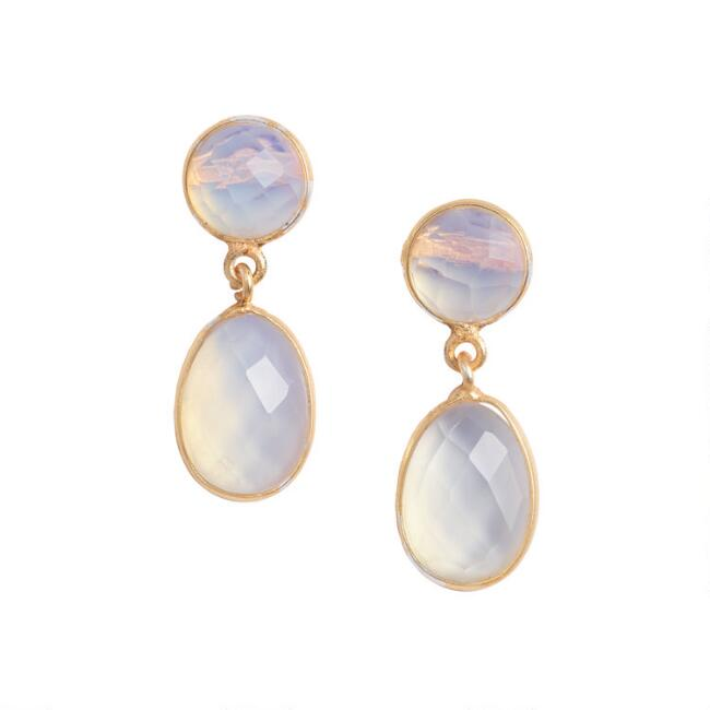 Gold Opal Faceted Two Tier Drop Earrings