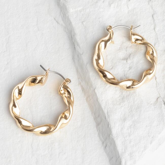 Gold Twisted Hoop Earrings by World Market