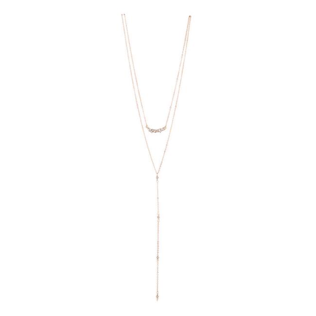 Gold Rhinestone Double Layer Lariat Necklace