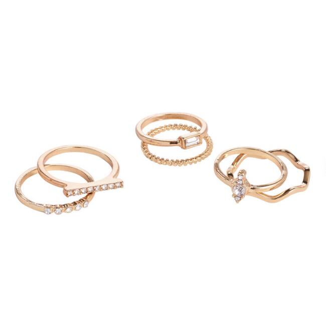 Gold Rhinestone Stacking Rings Set Of 6