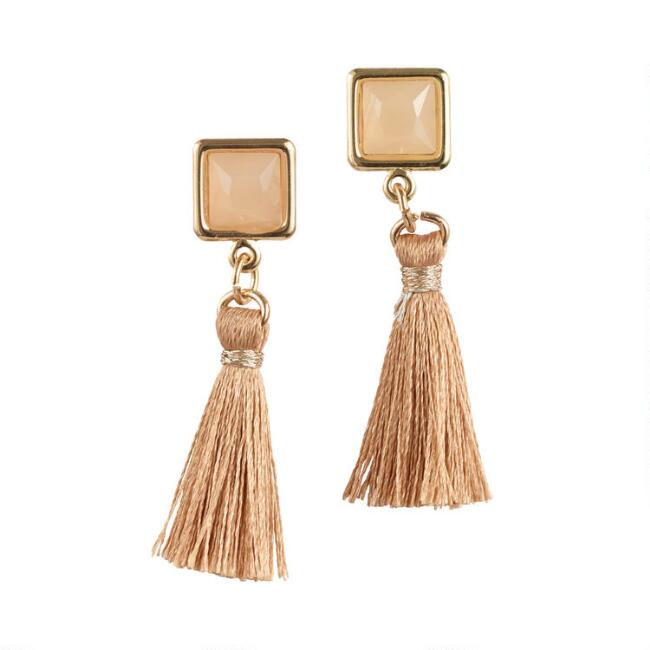 Small Tan Square Tassel Drop Earrings