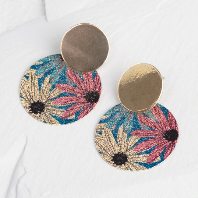 Gold Floral Print Disc Post Earrings