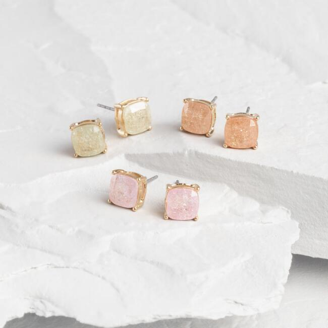 Gray, Pink And Lavender Gold Stud Earrings Set Of 3