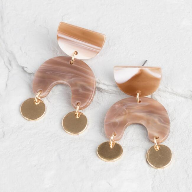 Gold And Taupe Geometric Dangle Earrings