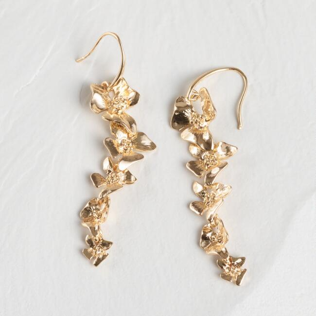 Gold Floral Dangle Earrings
