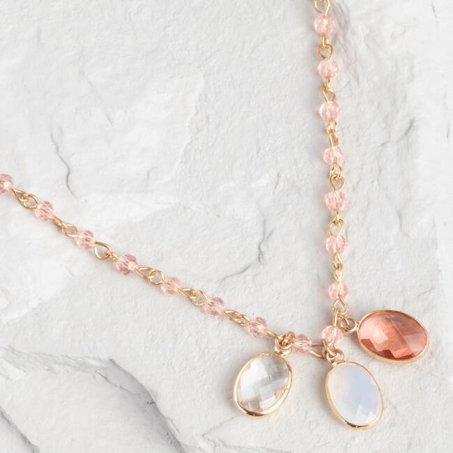Blush, Gray And Clear Gem Pendant Necklace
