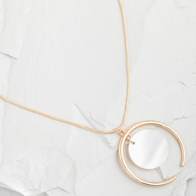 Gold Mother of Pearl Shell Pendant Necklace