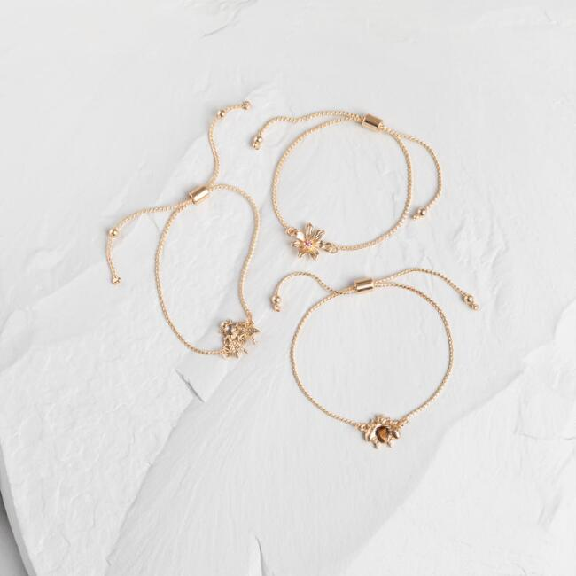 Gold Bug Bracelets Set Of 3