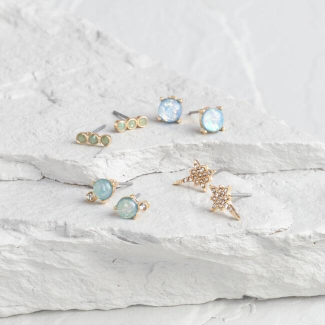 Gold Opalescent And Rhinestone Stud Earrings Set Of 4