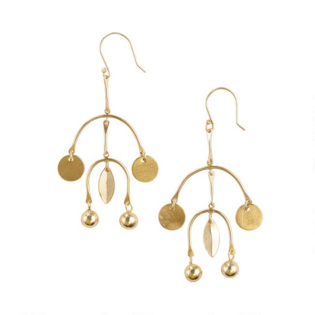 Large Gold Mobile Dangle Earrings