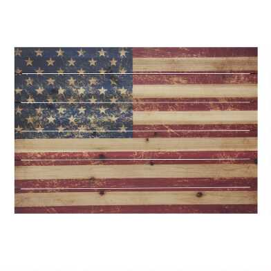 USA Flag Wood Plank Wall Art