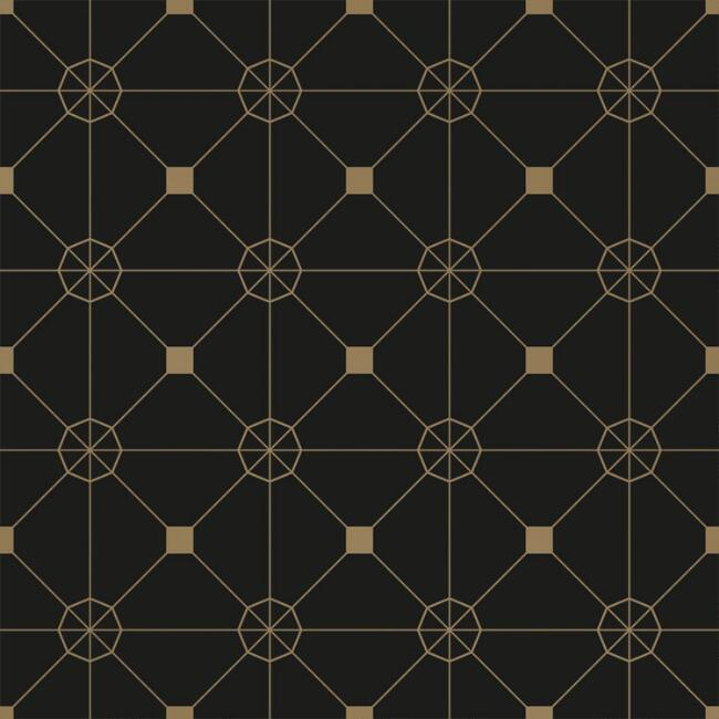 Black and Gold Geo Tile Peel and Stick Wallpaper