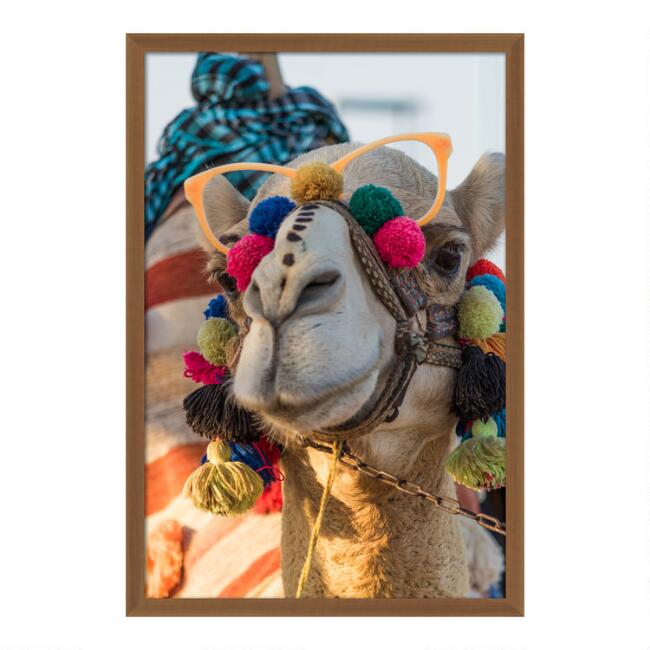 Festive Camel Framed Wall Art